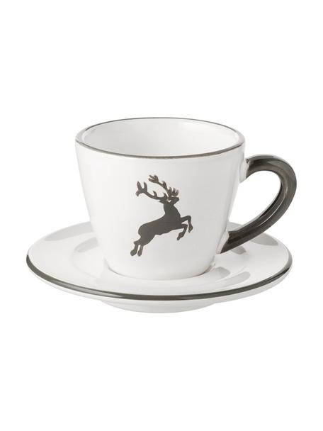 Ręcznie malowana filiżanka do espresso Gourmet Grauer Hirsch, 2 elem., Ceramika, Szary, biały, 60 ml