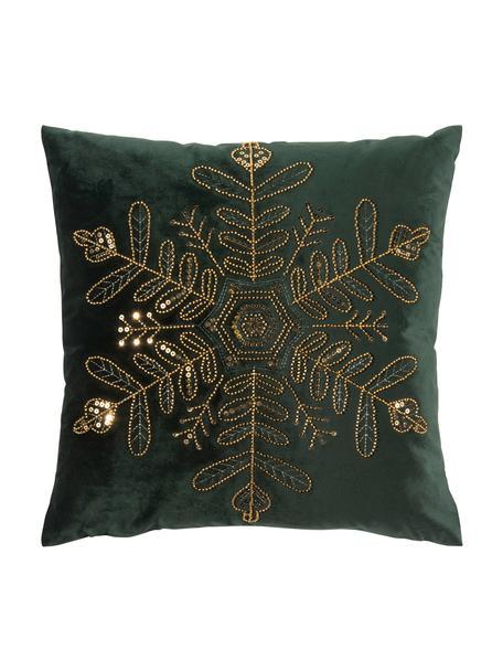 Poszewka na poduszkę z aksamitu Sparkle, Aksamit poliestrowy, Blaty: ciemnyzielony Stelaż: odcienie złotego, S 45 x D 45 cm