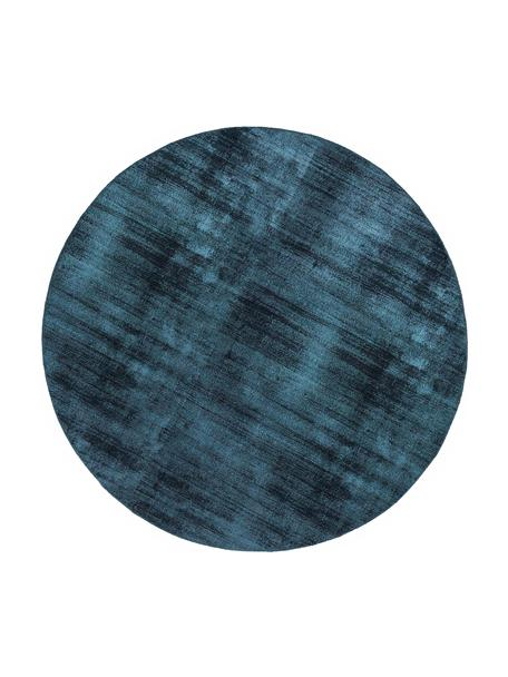 Tappeto rotondo in viscosa tessuto a mano Jane, Retro: 100% cotone, Petrolio, Ø 115 cm (taglia XS)