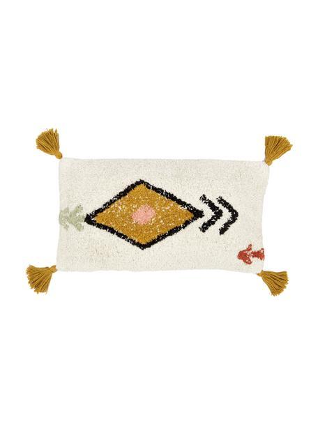 Kissenhülle Bereber mit Ethno-Muster und Quasten, 100% Baumwolle, Weiss, Schwarz, Senfgelb, 30 x 60 cm