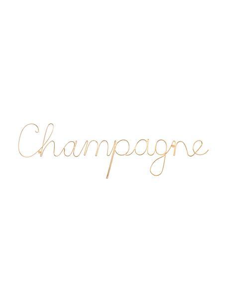 Wandobjekt Champagne aus Aluminium, Aluminium, Goldfarben, 57 x 16 cm