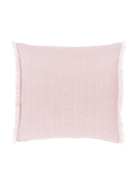 Federa arredo in lino rosa con frange Luana, 100% lino, Rosa cipria, Larg. 50 x Lung. 50 cm