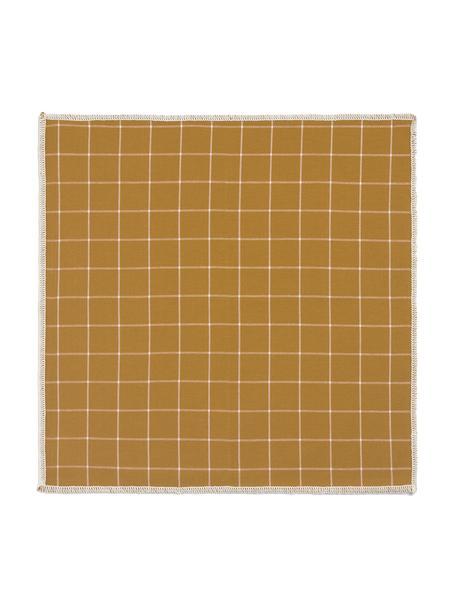 Baumwoll-Servietten Karura, 4 Stück, Baumwolle, Senfgelb, 45 x 45 cm