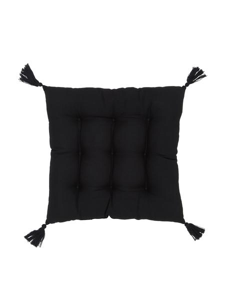Stoelkussen Ava in zwart met kwastjes, Bekleding: 100% katoen, Zwart, 40 x 40 cm