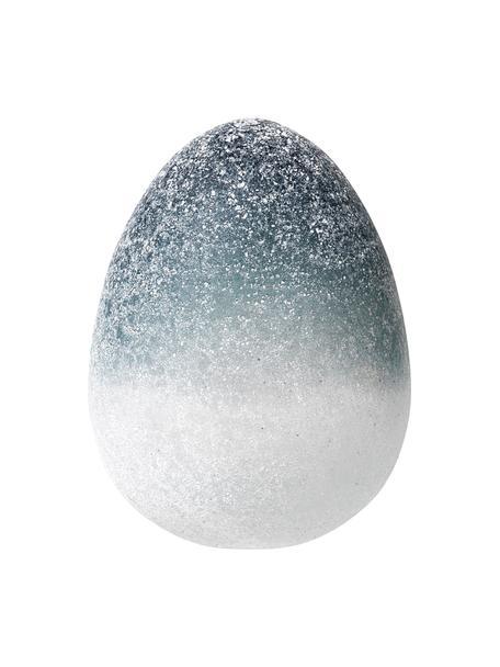 Mondgeblazen decoratief ei Gina, Glas, Blauw, wit, Ø 11 x H 14 cm