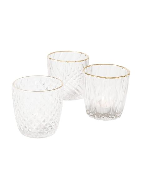 Waxinelichthoudersset Adore, 3-delig, Gelakt glas, Transparant, goudkleurig, Ø 11 x H 9 cm