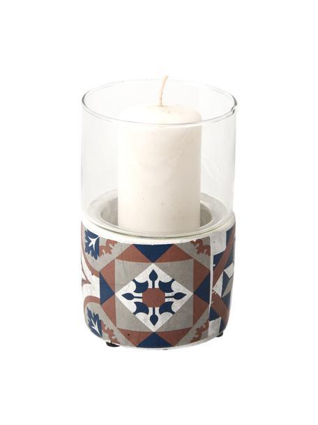 Windlicht Tiles, Glocke: Glas, Sockel: Beton, lackiert, Mehrfarbig, Ø 11 x H 17 cm