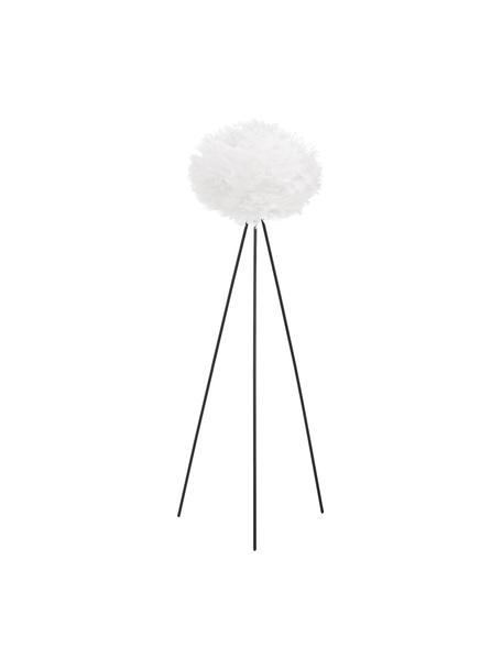 Driepoot vloerlamp Eos van veren, Lampenkap: ganzeveren, Lampvoet: gepoedercoat staal, Wit, zwart, Ø 66 cm