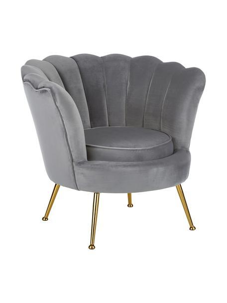 Fotel z aksamitu Oyster, Tapicerka: aksamit (poliester) Dzięk, Nogi: metal galwanizowany, Aksamitny szary, S 81 x G 78 cm
