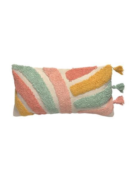 Kissenhülle Arco mit buntem Strukturmuster und Quasten, 100% Baumwolle, Beige, Mehrfarbig, 30 x 60 cm