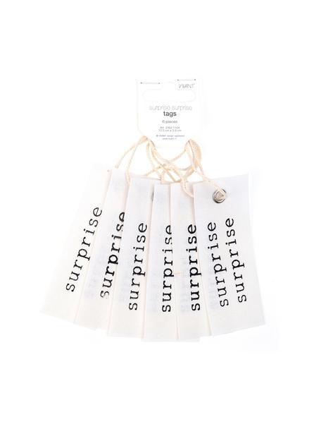 Geschenkanhänger Surprise, 6 Stück, 65% Baumwolle, 35% Leinen, Creme, Schwarz, 4 x 11 cm