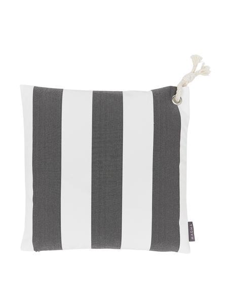 Gestreifte Outdoor-Kissenhülle Santorin in Grau/Weiß, 100% Polypropylen, Teflon® beschichtet, Anthrazit, gebrochenes Weiß, 40 x 40 cm
