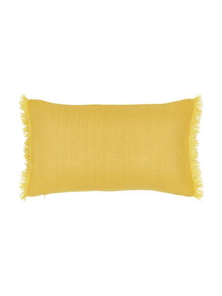 Federa arredo in lino giallo con frange Luana, 100% lino, Giallo, Larg. 30 x Lung. 50 cm