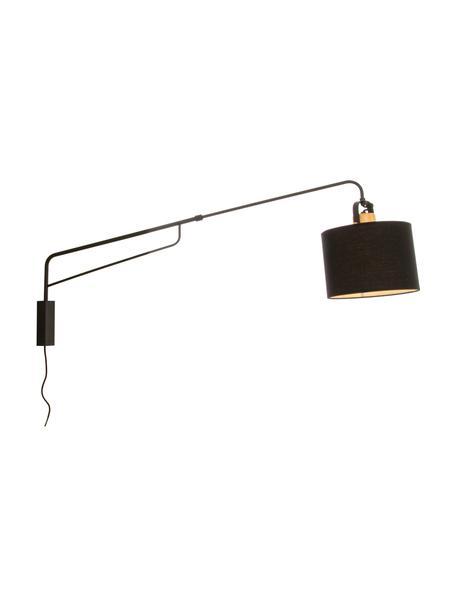 Grote wandlamp Wally met stekker en hout-decoratie, Lampenkap: 50% katoen, 50% polyester, Zwart, naturel, D 120 x H 43 cm