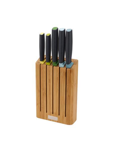 Messer-Set Elevate mit Messerblock, 6-tlg., Messer: Edelstahl, Griff: Polypropylen, Thermoplast, Bambus, Schwarz, Mehrfarbig, Verschiedene Größen