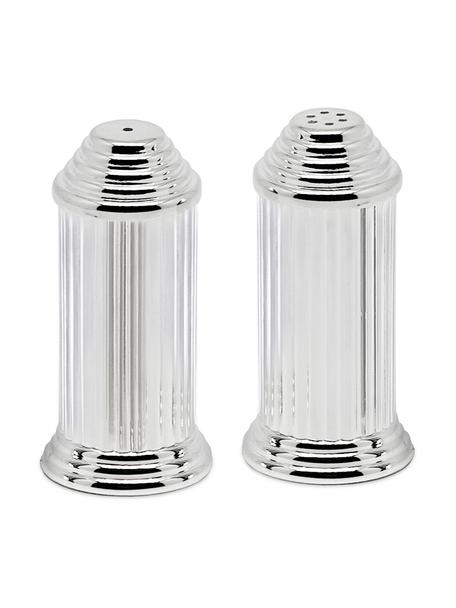 Versilberter Salz- und Pfefferstreuer Greca, 2er-Set, Stahl, versilbert, Silber, Ø 4 x H 8 cm