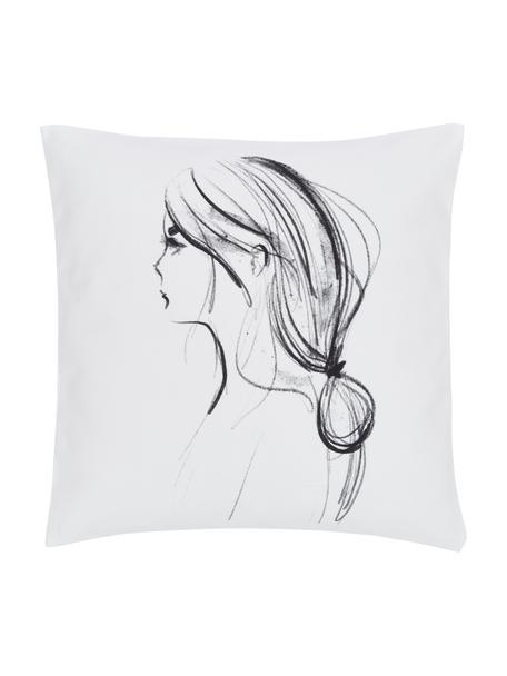Designer Kissenhülle Ponytail von Kera Till, 100% Baumwolle, Weiß, Schwarz, 40 x 40 cm