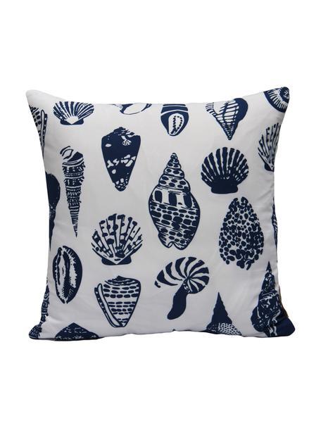 Kissenhülle Aga mit Muschelmotiven, 100% Polyester, Weiß, Blau, 40 x 40 cm