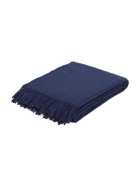 Manta de tela polar con estructura gofre Sara, 50%algodón, 50%acrílico, Azul oscuro, An 140 x L 180 cm