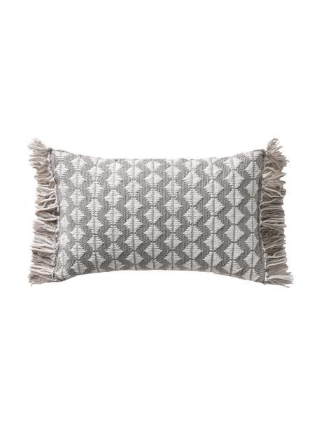 In- & Outdoorkissen Morty mit Ethnomuster und Fransen, mit Inlett, 100% Polyester (Recyceltes PET), Grau, gebrochenes Weiß, 30 x 50 cm