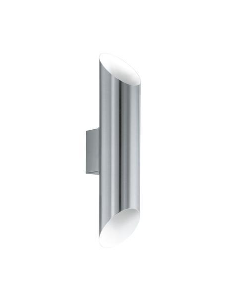 Aussenwandleuchte Agolada in Silber, Lampenschirm: Edelstahl, pulverbeschich, Aussen: Edelstahl<br>Innen: Weiss, 8 x 36 cm