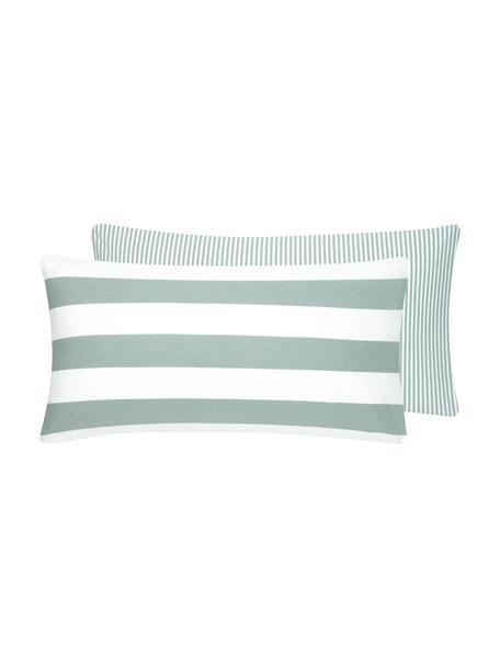 Funda de almohada de algodón  Lorena, caras distintas, Verde salvia, blanco, An 45 x L 85 cm