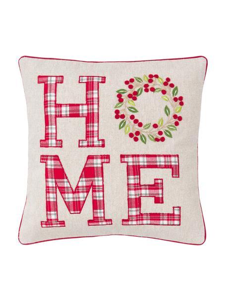Bestickte Kissenhülle Wreath mit Aufschrift, 100% Baumwolle, Beige, Rot, GrünKederumrandung: Rot, 45 x 45 cm