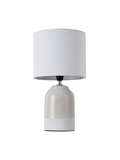Lampada da tavolo in ceramica Luka, Paralume: lino, Base della lampada: ceramica, Beige, bianco, Ø 18 x Alt. 33 cm