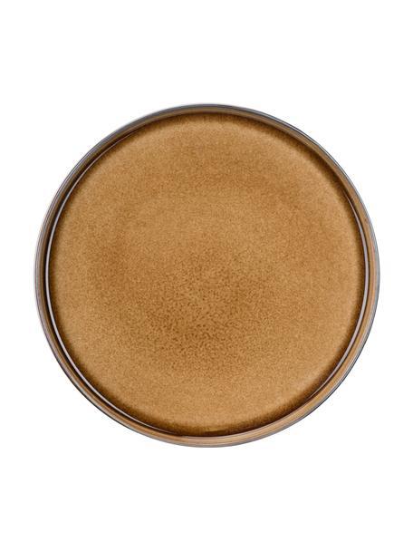 Handgemachte Frühstücksteller Quintana Amber mit Farbverlauf Braun/Blau, 2 Stück, Porzellan, Bernsteinfarben, Braun, Blau, Ø 22 cm