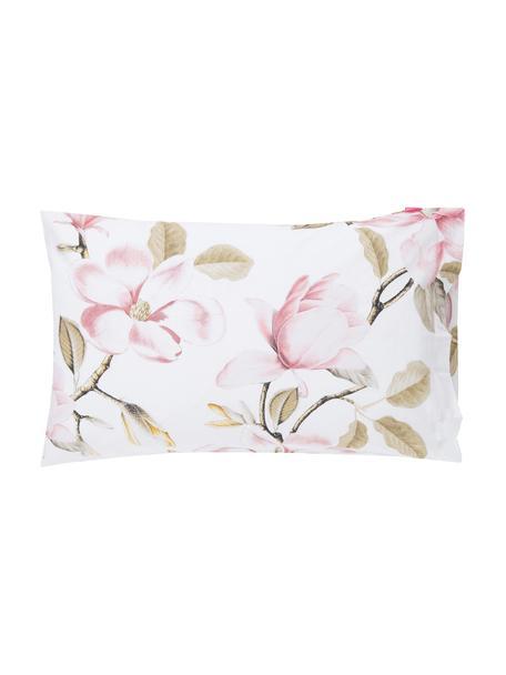 Fundas de almohada Magnolia, 2uds., Algodón, Blanco, tonos verdes y rosas, An 50 x L 75 cm