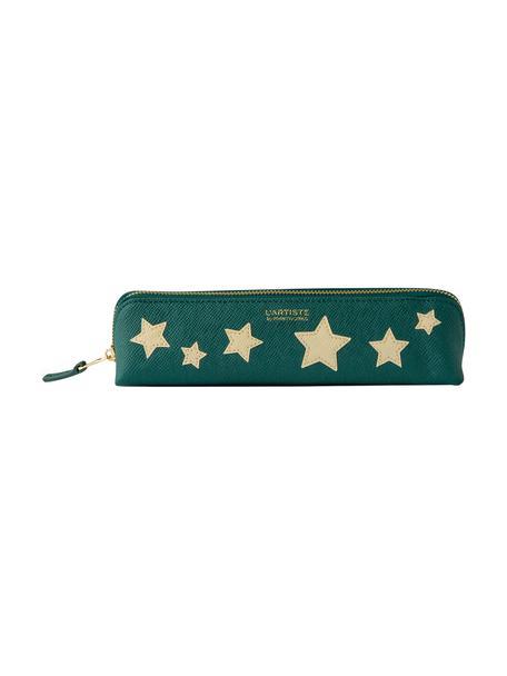 Estuche Stars, Cuero sintético, Beige, verde, dorado, An 21 x Al 6 cm
