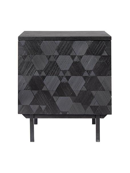 Mesilla de noche Aulialia, Estructura: madera de fresno, tablero, Patas: acero, Gris, negro, An 48 x Al 56 cm