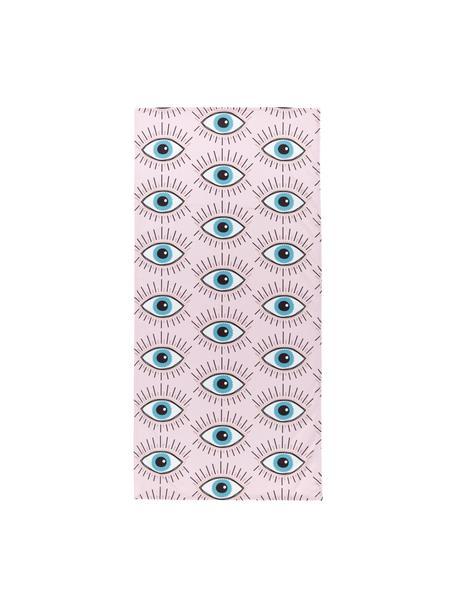 Ręcznik plażowy Eyes, 55% poliester, 45% bawełna Bardzo niska gramatura, 340 g/m², Blady różowy, wielobarwny, S 70 x D 150 cm