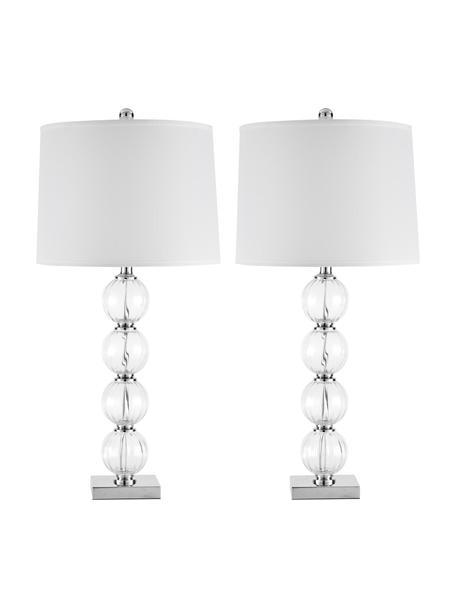 Große Tischlampen Luisa, 2 Stück, Lampenschirm: Polyester, Lampenfuß: Glas, Sockel: Metall, Weiß, Transparent, Ø 38 x H 76 cm