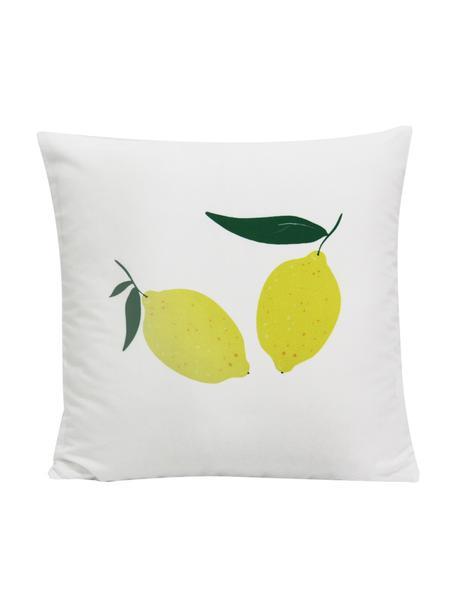 Dubbelzijdige kussenhoes Lemon, Polyester, Wit, geel, groen, 45 x 45 cm
