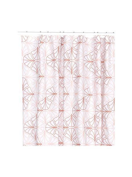 Duschvorhang Bloom mit floralem Print, Öko-Kunststoff (PEVA), frei von PVC Wasserdicht, Weiß, Terakotta, 180 x 200 cm