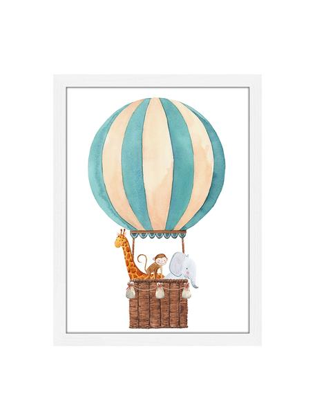 Ingelijste digitale print Balloon with Animals, Lijst: gelakt hout, Wit, multicolour, 33 x 43 cm