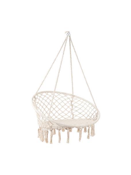 Hangstoel Paradise Now met franjes, Zitvlak: katoen, polyester, Frame: gecoat staal, Crèmekleurig, Ø 100 x H 145 cm