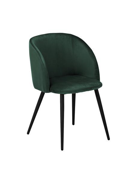 Krzesło tapicerowane z aksamitu Yoki, 2 szt., Tapicerka: aksamit (poliester) 2000, Nogi: metal malowany proszkowo, Aksamitny ciemny zielony, nogi: czarny, S 53 x G 57 cm