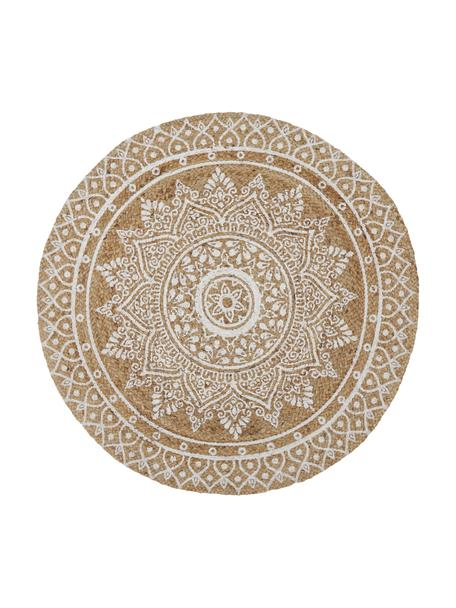 Alfombra artesanal de yute Dahlia, Yute, Beige, blanco, Ø 120 cm (Tamaño S)