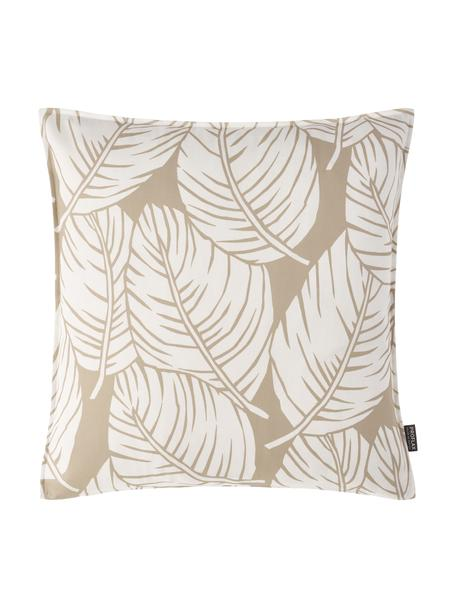 Federa arredo ocn motivo foglie Raul, 100% cotone, Sabbia, bianco latteo, Larg. 40 x Lung. 40 cm