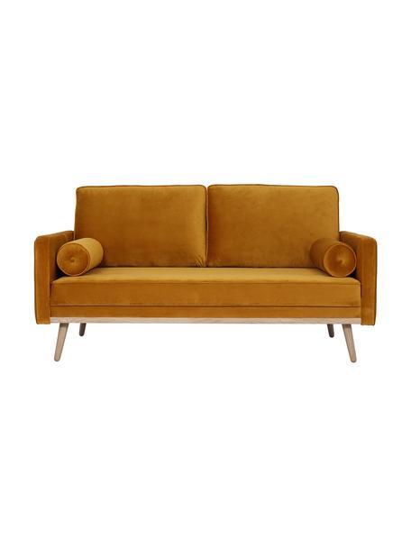 Sofa z aksamitu z nogami z drewna dębowego Saint (2-osobowa), Tapicerka: aksamit (poliester) Dzięk, Aksamitny musztardowy, S 169 x G 87 cm