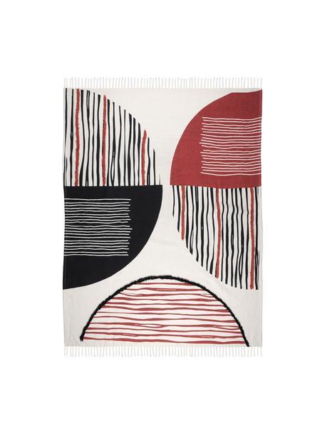 Plaid con frange e motivo a rilievo Dakar, 96% cotone, 4% elastan, Bianco, rosso, nero, Larg. 125 x Lung. 150 cm