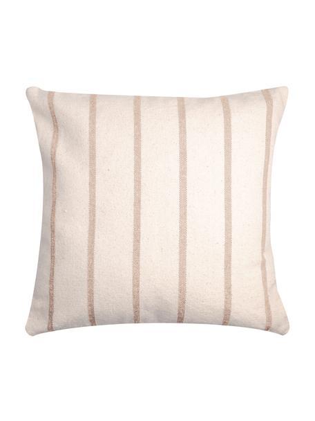 Gestreiftes Kissen Pampelonne, mit Inlett, Bezug: 100% Baumwolle, Beige, Gebrochenes Weiß, 50 x 50 cm