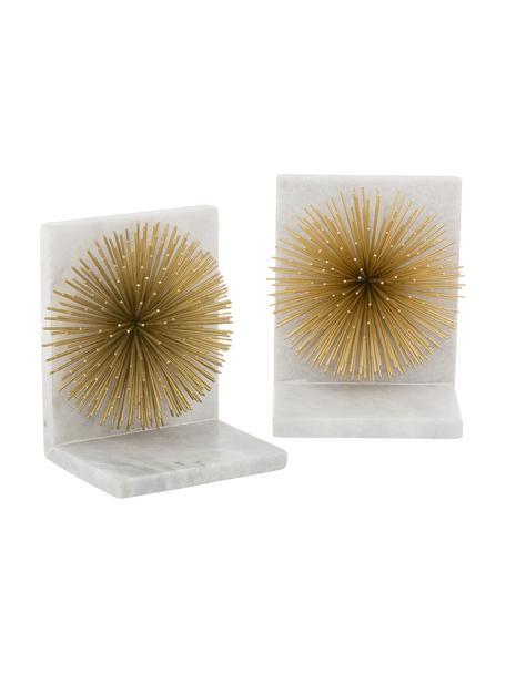 Buchstützen Marburch, 2 Stück, Unterseite: Filz, Buchstützen: Weisser Marmor, Detail: Goldfarben, Unterseite: Filz, 14 x 17 cm