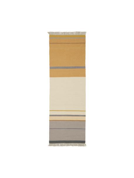 Wollläufer Metallum in Beige/Gelb mit Fransen, handgewebt, Mehrfarbig, 80 x 250 cm