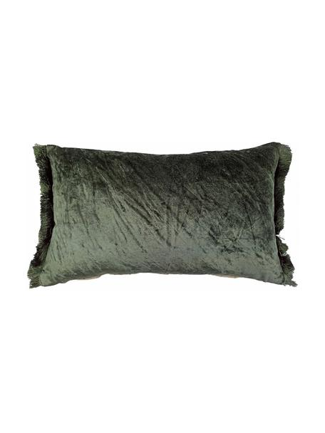 Cuscino reversibile con imbottitura in velluto Crushed, Rivestimento: 55% rayon, 45% cotone, Verde, Larg. 30 x Lung. 50 cm