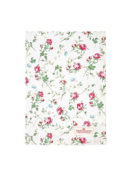 Strofinaccio in cotone con motivo a rose Constance, Cotone, Bianco, verde, rosa, Larg. 50 x Lung. 70 cm