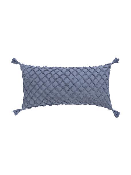 Kissenhülle Royal mit Hoch-Tief-Muster, 100% Baumwolle, Blau, 30 x 60 cm