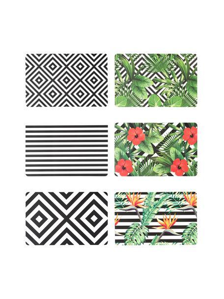 Set de manteles individuales de plástico Tropicana, 6uds., Plástico, Negro, blanco, verde, rojo, amarillo, An 30 x L 45 cm